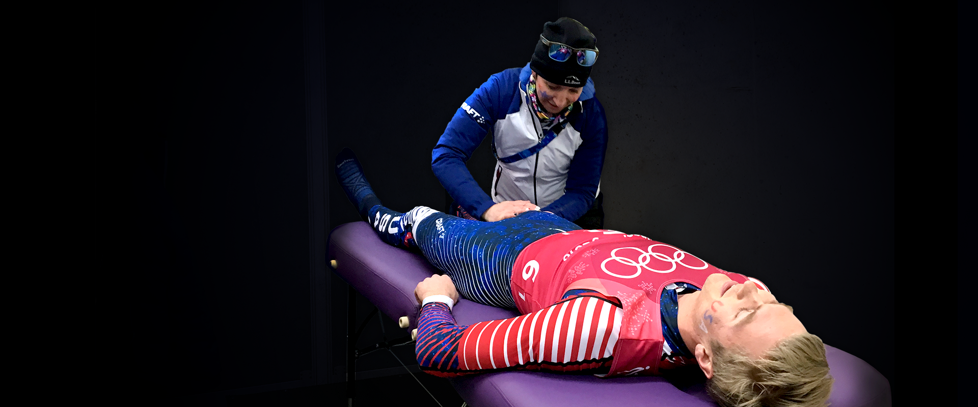Zuzana Rogers works on US athletes at the Pyeongchang Olympic Games.